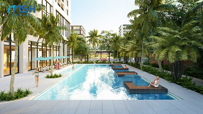 Hình ảnh phối cảnh bể bơi hiện đại tại chung cư cao cấp The Legacy