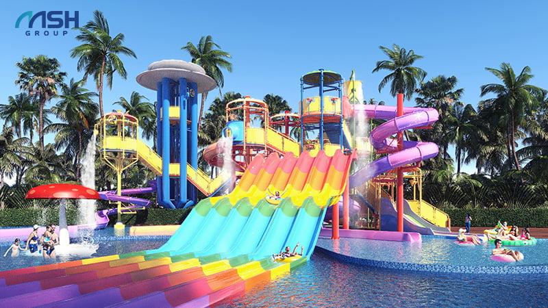 Công viên nước với nhiều trò chơi hấp dẫn tại AE Resort